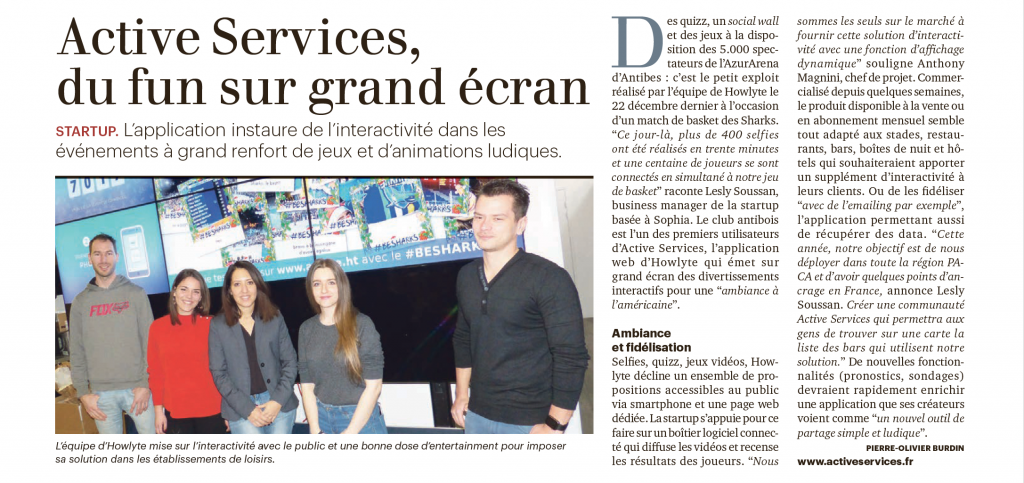 Article de Tribune Bulletin Côte d'Azur sur ActiveServices